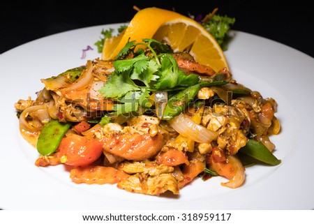 Chicken Pad Thai Noodles - stock photo