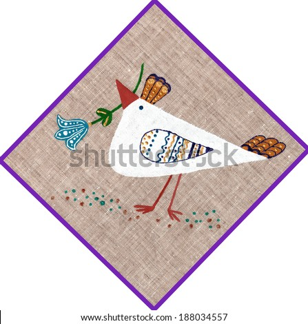 chicken painted on linen background - stock photo