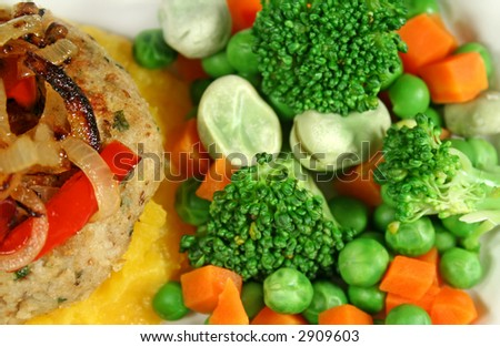 Chicken patty and fried onion with fresh steamed vegetables. - stock photo