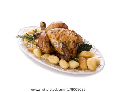 chicken roasted with potatoes - stock photo