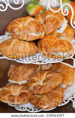 Chicken salad croissant sandwiches - stock photo
