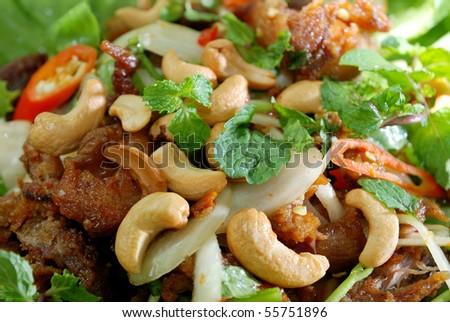 Chicken salad with cashew nut Thai Style. - stock photo