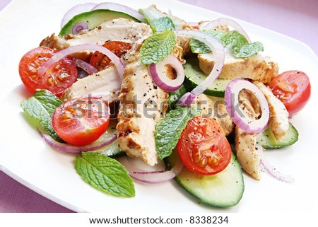 Chicken salad with cucumber and mint.  Chicken marinated in spiced yoghurt, with cucumber, cherry tomatoes, mint leaves and red onion.  A delicious, healthy meal. - stock photo