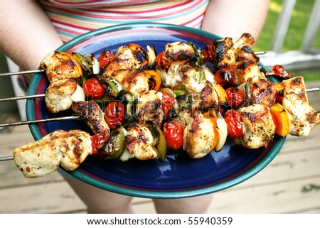 Chicken Shish Kabob on a plate - stock photo
