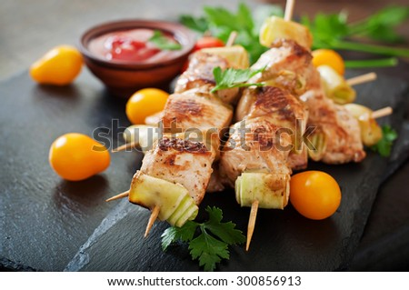 Chicken shish kebab with zucchini - stock photo