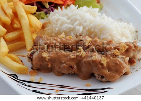 Chicken skewers on plate, garnished with sauce, rice, chips and vegetables - stock photo