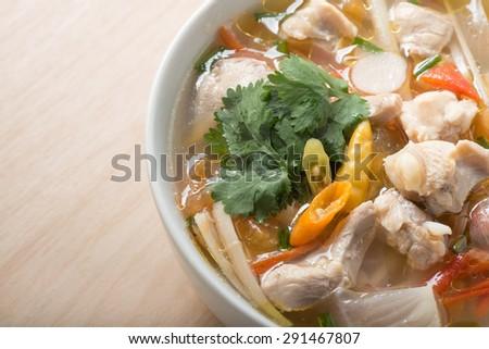 Chicken soup, favorite thai food - stock photo