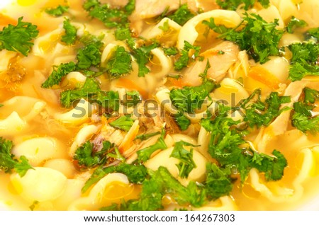 Chicken soup with farfalle pasta and carrots decorated with parsley on a plate - stock photo