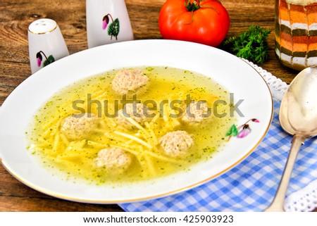 Chicken Soup with Meatballs Studio Photo - stock photo