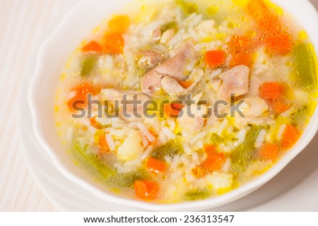chicken soup with vegetables and rice - stock photo