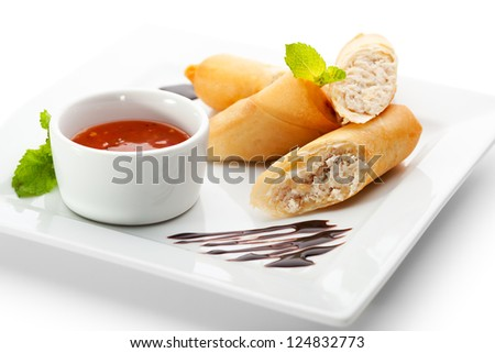 Chicken Spring Roll with Red Spicy Sauce - stock photo