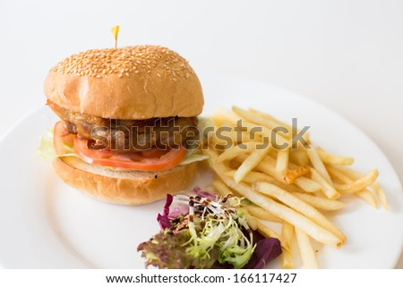 Chicken Steak Burger with French Fried - stock photo