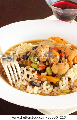 Chicken stir fry with black beans, soybeans and bell peppers - stock photo