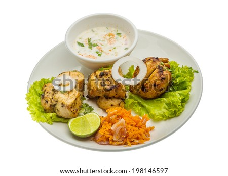 Chicken Tikka - traditional indian food - stock photo