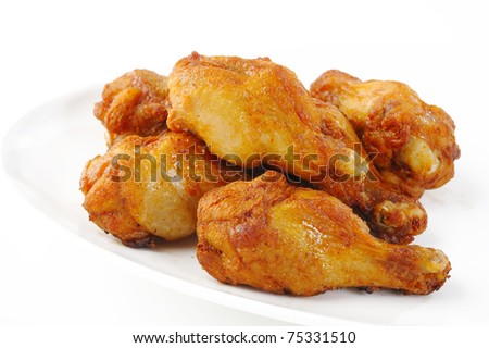 chicken wings on plate - stock photo