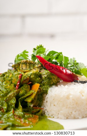 chicken with green curry fresh vegetables and rice - stock photo