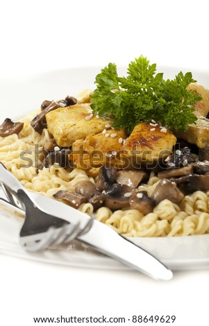 Chicken with Noodles and Mushrooms Isolated on White Background - stock photo