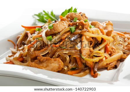 Chicken with Rice Noodles and Vegetables - stock photo