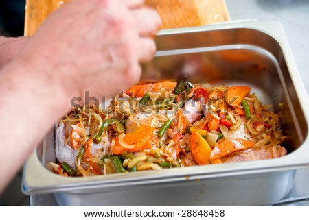 Chicken with vegetables - stock photo