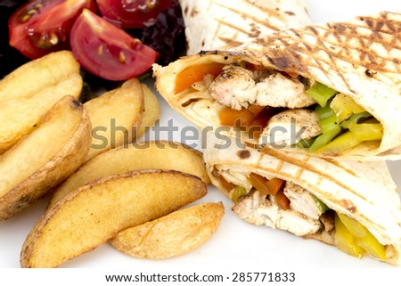 chicken wraps - stock photo