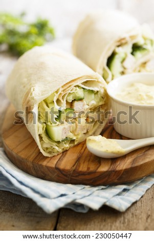 Chicken wraps with spicy sauce - stock photo