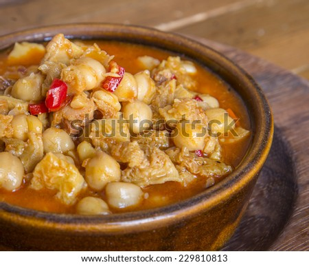 chickpeas and tripe stew - stock photo