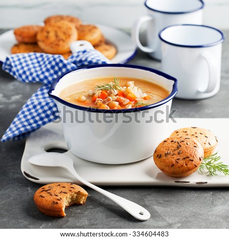 Chickpeas barley soup and scones, selective focus - stock photo
