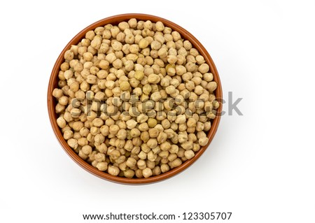 chickpeas inside a bow - stock photo