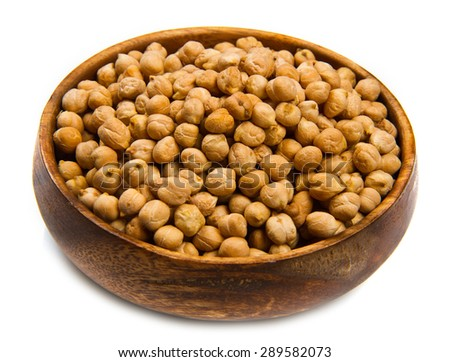 chickpeas on wood bowl isolated on white - stock photo