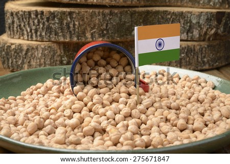 Chickpeas or Garbanzo Beans With India Flag - stock photo
