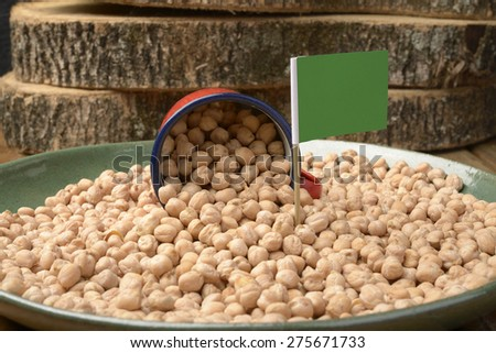 Chickpeas or Garbanzo Beans With Lybia Flag - stock photo
