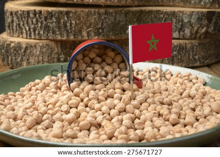 Chickpeas or Garbanzo Beans With Morocco Flag - stock photo