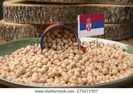 Chickpeas or Garbanzo Beans With Serbia Flag - stock photo