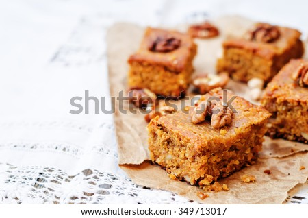chickpeas walnuts blondies on a dark wood background. toning. selective Focus - stock photo