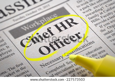 Chief HR Officer Vacancy in Newspaper. Job Search Concept. - stock photo
