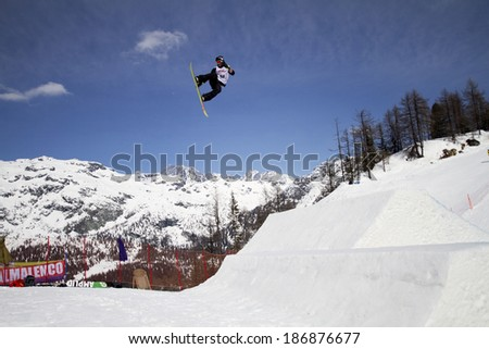 Chiesa in Valmalenco, IT - MAR 30:  Rayward Jordan John compete in the Fis freestyle junior world championships 2014  Snowboard Slopestyle event in Chiesa Valmalenco, IT on March 30, 2014 - stock photo