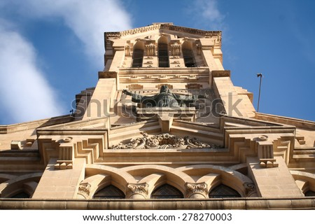 Chihuahua Mexico church with blue sky. - stock photo