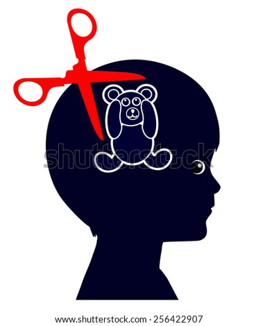 Child Abuse. Concept sign of abused kid suffering from traumatic experience for life - stock photo