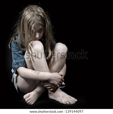 Child abuse girl - stock photo