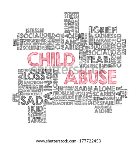 Child abuse in word cloud - stock photo