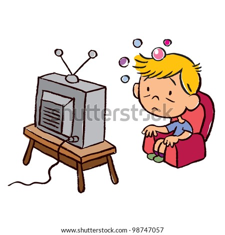 child addicted to television - stock photo