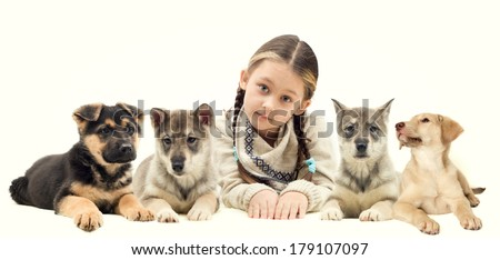 child and a lot of puppies  - stock photo
