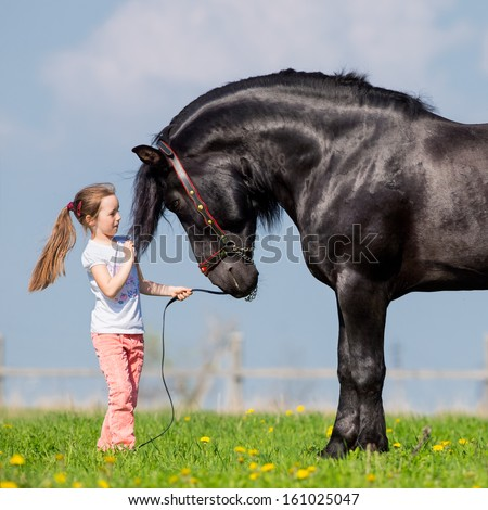 Child and big black horse in pasture. - stock photo