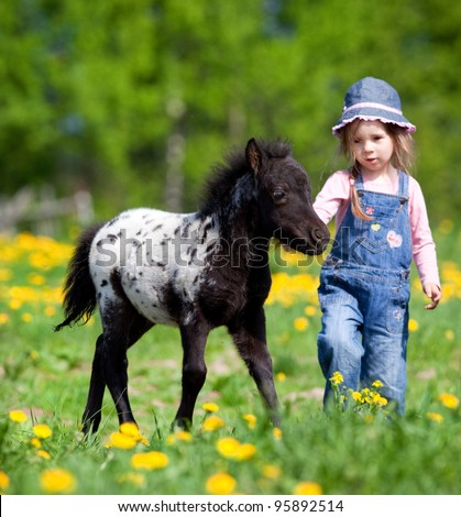 Child and foal in field - stock photo