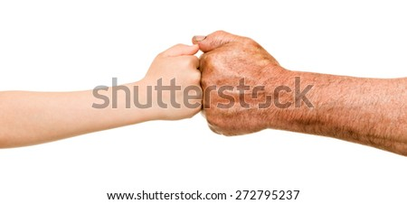 child and old man hands - stock photo
