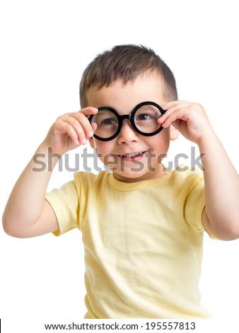 child boy wearing glasses isolated on white - stock photo