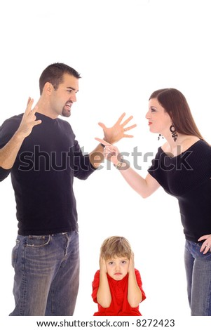 child caught in the middle vertical - stock photo