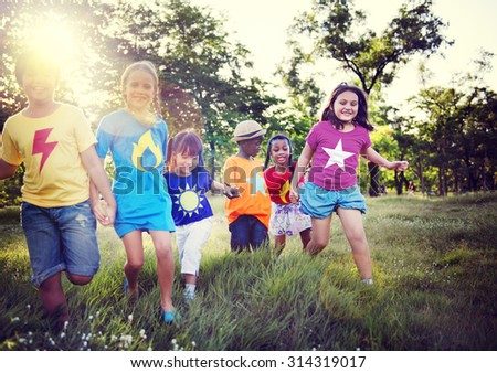 Child Childhood Children Happiness Togetherness Concept - stock photo