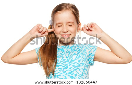 Child closed her ears. Portrait closeup. - stock photo