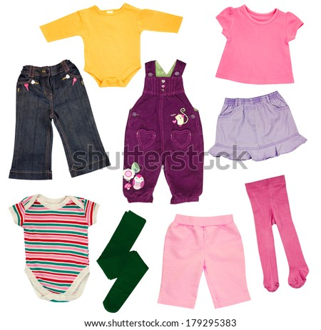 Child clothing isolated on white.Baby colorful clothes closeup. - stock photo